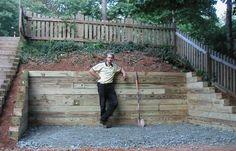 landscaping idea - wood retaining wall