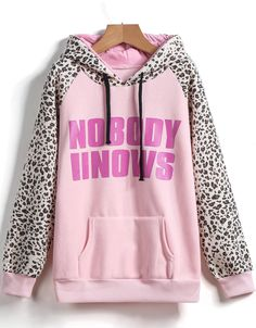 Pink Hooded Leopard Print Loose Sweatshirt 13.33