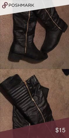Knee High Boots Knee high black boots with golden outer  zipper Discovery Shoes Over the Knee Boots