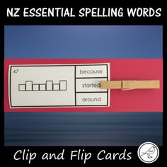 New Zealand Essential Spelling Words Lists 'Clip and Flip' cards - look at the word frame and decide which word fits the frame. Place a peg on that word. Flip the card over and see if you are correct! You can use these cards as a literacy centre activity. Activity Sheets, Activity Centers, Literacy Centers, Spelling Words, Sight Words, Flip Cards, School Resources, Primary School, Flipping