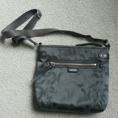 Gently used Coach Crossbody This Coach bag is color blue/grey, gently used. Signs of use in the leather lining, clean inside, on the back there is a little sign of wear from the seams. Strap is in good condition as well as all zips that run smoothly Coach Bags Crossbody Bags