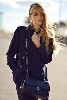 #Dark Navy Jacquard Peacoat #Small CAviar Classic Chanel Bag
