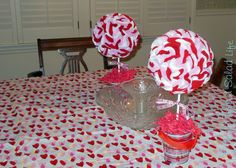 My Mom Made That: Valentine's Day Felt Topiaries (could be done with tissue papers instead)