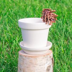 """Simple Small Plant Pot With Saucer 4.2"""" Ready to Paint Pottery Ceramic Bisque"""