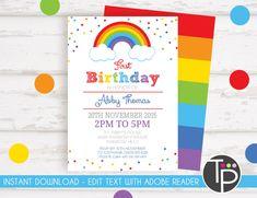 RAINBOW INVITATIONS Instant Download Watercolor Rainbow Invitation