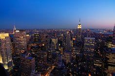 Manhattan ze szczytu Rockefeller Plaza, Stany Zjednoczone