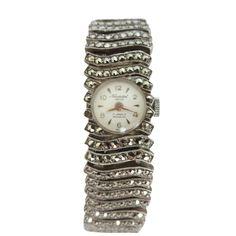 Vintage Neuchatel (Modaine) Stg Sil Marcasite Manual Wind Swiss Watch in Case