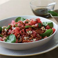 Watermelon Spinach Salad w/Mint Dressing. DELICIOUS, LADIES, AND HEALTHY!