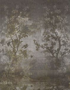 Wall and Deco Midsummer Night mural on demand Wallpaper Wall, Wall Murals, Wall Art, Contemporary Wallpaper, Chinoiserie, Wall Design, Painting, Abstract, Pavers Ideas