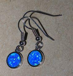 blue fire opal earrings gemstone silver jewelry chic modern drop/dangle style 1W #DropDangle