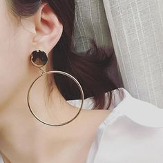 1Pair Gold Silver Plated Circle Big Ring Round Crystal Fashion Ear Stud Earrings