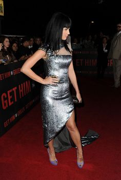 Katy Perry Evening Dress - Katy Perry arrived on the red carpet for the LA premiere of her fiancé Russell Brand's new movie 'Get Him To The Greek'. She opted for a silver Georges Chakra Fall 2009 Couture gown.