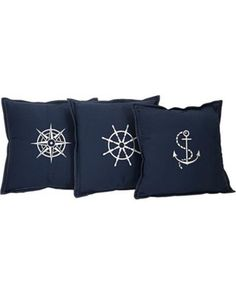 These nautical pillows make us want to set sail! Get them here: http://www.bhg.com/shop/lamps-plus-admiral-set-of-3-100-percent-cotton-navy-blue-throw-pillows-p50b8d25ce4b0fbc06ecb79e6.html