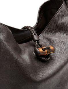 GUCCI Hip Bamboo Leather Shoulder Bag