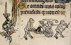 Jester in barrow wheeled by two apes.  Unicorn left. detail--margin. Ghent 1320-30 Psalter. bodl_Douce6