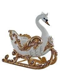 """Royal Collection White Christmas de Katherine Coleção 22 """"Royal branco e dourado Swan Sleigh navio livre"""