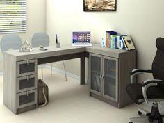 Mesa para Computador/Escrivaninha Espanha 2 Portas - 3 Gavetas com Vidro - Politorno 117798 Office Desk, Home Office, Rack Tv, Corner Desk, Room, Design, Furniture, Home Decor, Cama Box