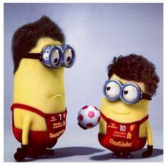Coutinho and Suarez minions - LFC Minions, My Minion, Yellow Guy, Liverpool Fc, Round Sunglasses, Cute, Attitude, Soccer, Magic