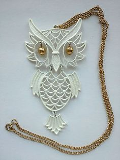 """Vintage White Owl Pendant Necklace """"Gold"""" Chain Could Be Taken Off for A DIY 