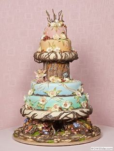 Exquisite Woodland Fairy Wedding Cake Design by Mercedes Strachwsky of Florida - displayed at the Oklahoma State Sugar Art Show. by francesca-caas Crazy Cakes, Fancy Cakes, Cute Cakes, Pretty Cakes, Pink Cakes, Take The Cake, Love Cake, Unique Cakes, Creative Cakes