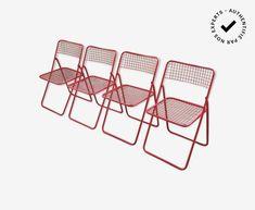 4 chaises Ted Net - Niels Gammelgaard - métal - rouge - design - J5WvW7Q Outdoor Chairs, Outdoor Furniture, Outdoor Decor, Ikea, Berry, Design, Home Decor, Folding Chair, Carpet