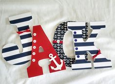 Boy nursery letters nautical letters por JessCreativeCorner en Etsy