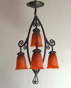 DELATTE : signed FRENCH 1925 ART DECO CHANDELIER ....... wrought iron lamp lampe