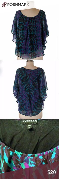 """Express Short Sleeve Flowy Blouse Gorgeous purple, blue, green peacock print, scoop neck blouse. Sheer material with cotton inner lining. Butterfly/batwing style sleeves. Great condition--only worn a few times!  28"""" Chest, 24"""" Length Express Tops Blouses"""