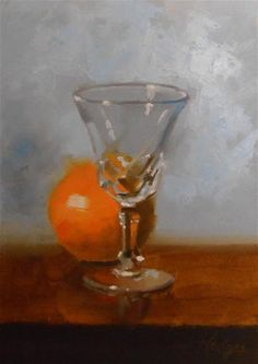 """Daily Paintworks - """"Orange and Glass"""" - Original Fine Art for Sale - © Bruce Hedges"""