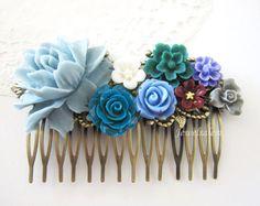 Wedding Hair Comb Bridal Headpiece Boho Chic Blue by Jewelsalem