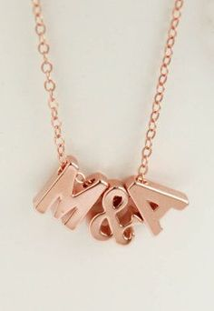 Couples Necklace Rose Gold Letters Necklace