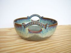 Stoneware Serving Bowl with 2 Handles in Fog by dorothydomingo, $40.00