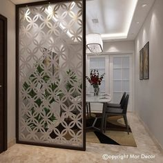 Mor Decor - Online Luxury Furniture Store in Delhi, India. Finest Metal Italian Furniture Designs with eye-catching Marble on Top. Decor, Home Room Design, Bathroom Inspiration Decor, Glass Partition Wall, Pooja Room Door Design, Home Decor, Counselling Room Design, Living Room Partition Design, Modern Room Divider