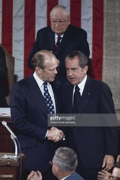 Gerald R. Ford shakes hands with U. President Richard M. Nixon as James Eastland, President Pro Tempore of the Senate looks on during Ford's Vice Presidential Inauguration on December 1973 in. Federal Income Tax, Presidential Inauguration, Presidential Libraries, Chief Justice, Shake Hands, American Presidents, Vice President, Big Time