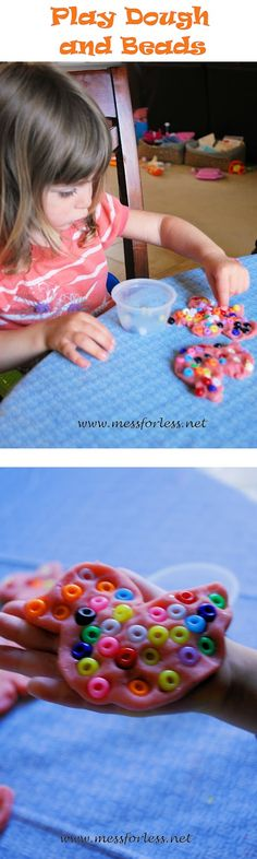 Mess For Less: Play Dough and Beads - Fine Motor Fun