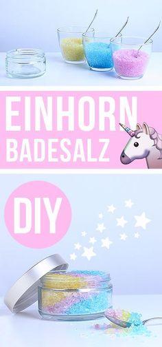 Einhorn-Badesalz    Was für eine schöne Idee für den nächste Kindergeburtstag.  Vielen Dank  Dein blog.balloonas.com      #kindergeburtstag #motto #mottoparty #kinder #kids #birthday #party #basteln #diy