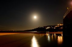 St Ives Moonlight in May 2015 St Ives Cornwall, Moonlight, Saints, The Past, Celestial, Sunset, Beach, Places, Outdoor
