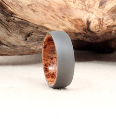 Titanium Lined with Black Ash Burl Wood Ring by WedgewoodRings
