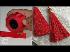 Satin Ribbon का इस्तेमाल कर के Tassel बनने का सबसे आसान तरीका। make perfect tassel using ribbon. Ribbon Jewelry, Thread Jewellery, Ribbon Art, Ribbon Crafts, Diy Tassel Earrings, Tassel Jewelry, Beaded Earrings, Tassel Earing, Gold Earrings