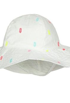 Carters-Baby-Sun-Hat-Sun-Protection-Hat-For-Girls-Solid-White-With-Neon-Colors-0