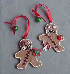 Zombie Gingerbread Man Ornaments