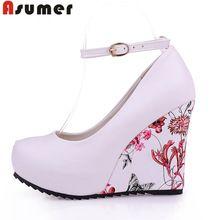 2016 nuevo llega la moda plataformas tacones altos mujeres bombas zapato con cierre de punta redonda sexy zapatos de cuña zapatos casuales caiga(China (Mainland))