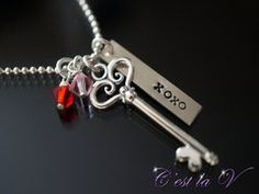 My Forever Valentine  Hand stamped and personalized sterling silver necklace. Includes heart key, rectangle tag (to be stamped), Swarovski crystals (in siam and light rose), and chain.    $66    Website: http://cestlavjewelry.com/ Etsy Store: https://www.etsy.com/ca/shop/cestlavjewelry?ref=hdr_shop_menu