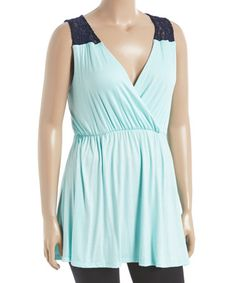 Look at this #zulilyfind! Mint & Navy Surplice Tunic - Plus #zulilyfinds