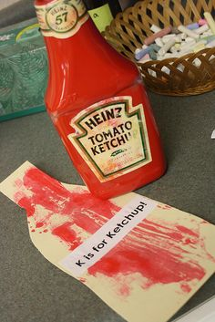 Wesley Summer red paint in a ketchup bottle! Ketchup painting with a silicone pastry brush, picnic spoon, or plastic hamburger spatula. Letter K Crafts, Preschool Letter Crafts, Abc Crafts, Alphabet Crafts, Preschool Lessons, Alphabet Activities, Preschool Classroom, Art Classroom, Toddler Crafts
