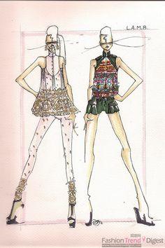 Gwen Stefani LAMB  Spring 2012 Fashion Sketch.