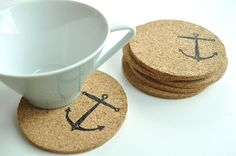 Nautical Cork Coasters, Anchor Coasters, Round Nautical Coasters, Ocean theme, set of 6