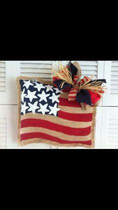 Patriotic Flag Burlap Door Hanger by BundlesofBurlapbyK on Etsy Burlap Projects, Burlap Crafts, Wreath Crafts, Craft Projects, Diy Crafts, Craft Ideas, Burlap Door Hangings, Burlap Signs, Patriotic Crafts