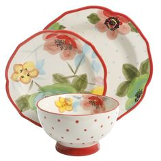 The Pioneer Woman Decorated Dinnerware Set, Walmart Exclusive Image 5 of 6 Dinnerware Sets Walmart, Stoneware Dinnerware Sets, Pioneer Woman Dishes, Bowl Of Soup, Kitchen Collection, Red Accents, Dinner Plates, Cup And Saucer, Vintage Ladies