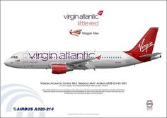 """Virgin Atlantic Little Red """"Maggie May"""" Airbus A320-214 EI-DEI c/n: 2374. Realistic Airliner Art Illustrations. www.facebook.com/airlinersillustrated www.AirlinersIllustrated.com"""